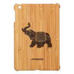 Mirada de bambú y elefante tailandés retro grabado iPad mini cárcasa