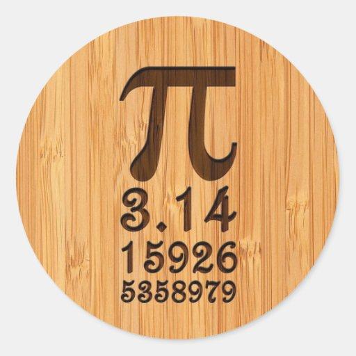 Mirada de bambú y números grabados del pi pegatina redonda