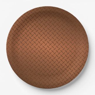 Mirada de cobre del modelo de Diamondplate Platos De Papel