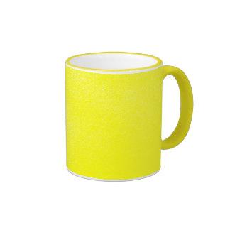 Mirada de cuero amarilla falsa tazas de café