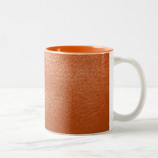Mirada de cuero anaranjada tazas