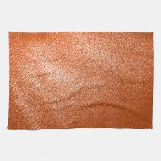 Mirada de cuero anaranjada toalla de cocina