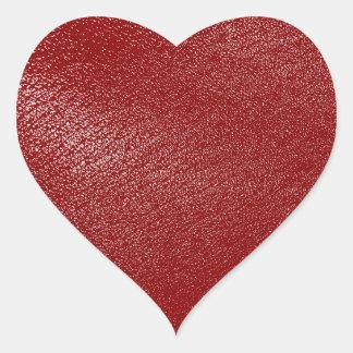 Mirada de cuero de color rojo oscuro pegatina en forma de corazón