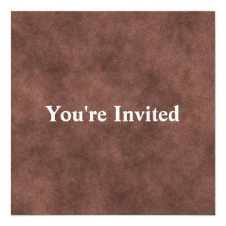 """Mirada de cuero en marrón invitación 5.25"""" x 5.25"""""""