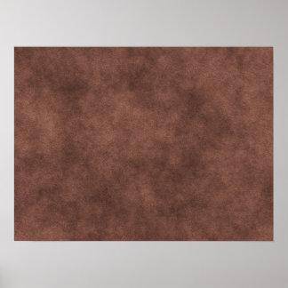 Mirada de cuero en marrón póster