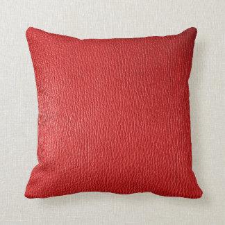 Mirada de cuero natural roja cojín decorativo
