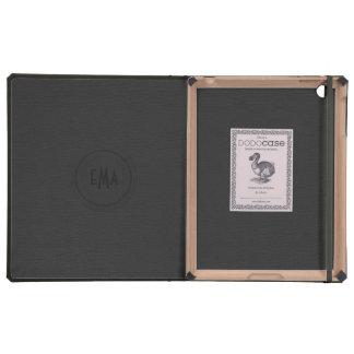 Mirada de cuero negra del monograma iPad cárcasa