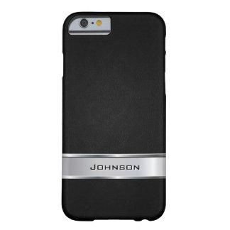 Mirada de cuero negra elegante con la etiqueta del funda de iPhone 6 barely there