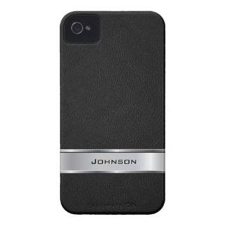 Mirada de cuero negra elegante con la etiqueta del Case-Mate iPhone 4 carcasas