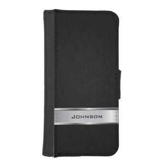 Mirada de cuero negra elegante con la etiqueta del funda billetera para teléfono