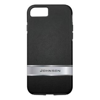 Mirada de cuero negra elegante con la etiqueta del funda iPhone 7