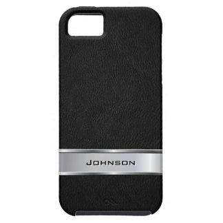 Mirada de cuero negra elegante con la etiqueta del funda para iPhone SE/5/5s