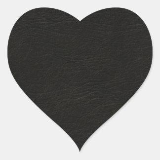 Mirada de cuero negra pegatina en forma de corazón