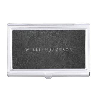 Mirada de cuero negra personalizada cajas de tarjetas de visita