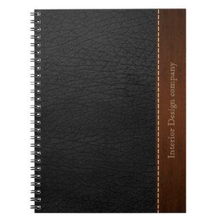 Mirada de cuero negra spiral notebooks
