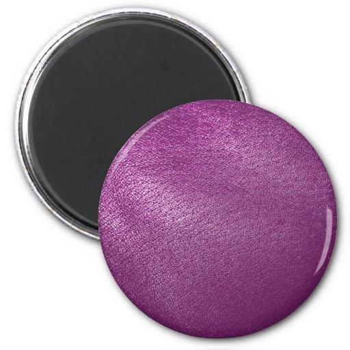 Mirada de cuero púrpura imán redondo 5 cm