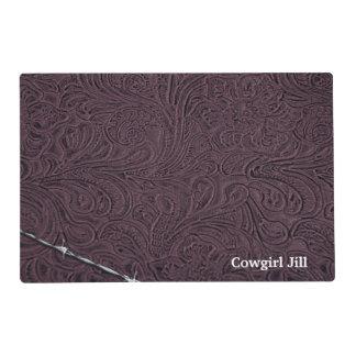 Mirada de cuero púrpura rústica personalizada del tapete individual