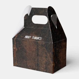 Mirada de cuero rascada rústica personalizada cajas para regalos de boda