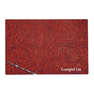Mirada de cuero roja rústica personalizada del tapete individual