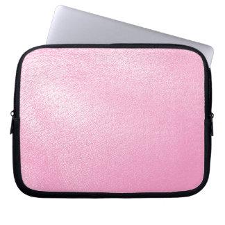 Mirada de cuero rosada suave (falsa) manga portátil