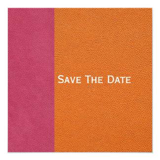 """Mirada de cuero rosada y anaranjada invitación 5.25"""" x 5.25"""""""