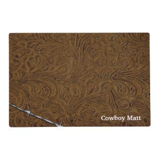 Mirada de cuero rústica personalizada del vaquero tapete individual