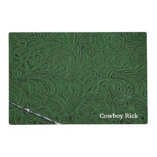 Mirada de cuero verde rústica personalizada del tapete individual