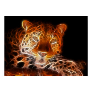 Mirada de intimidación del leopardo poster