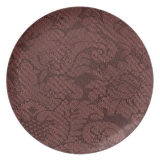 Mirada de la armadura del damasco del vino rojo platos para fiestas