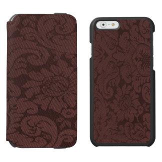 Mirada de la armadura del damasco del vino rojo funda cartera para iPhone 6 watson