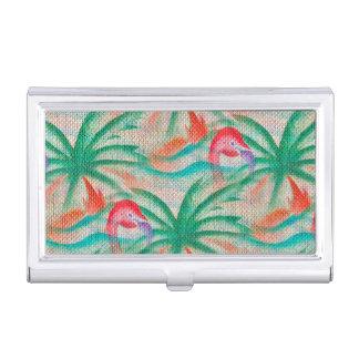 Mirada de la arpillera de la palmera del flamenco caja de tarjetas de presentación