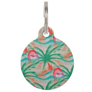 Mirada de la arpillera de la palmera del flamenco placa para mascotas