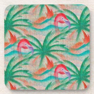 Mirada de la arpillera de la palmera del flamenco posavasos