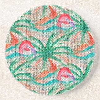 Mirada de la arpillera de la palmera del flamenco posavasos de arenisca