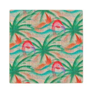 Mirada de la arpillera de la palmera del flamenco posavasos de madera