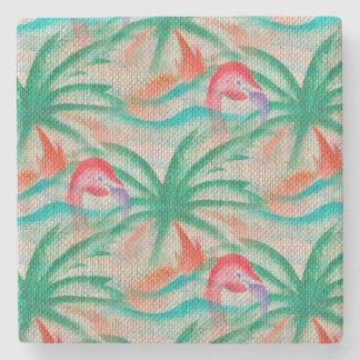 Mirada de la arpillera de la palmera del flamenco posavasos de piedra