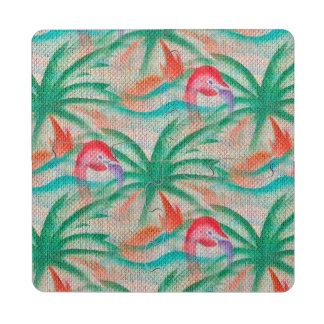 Mirada de la arpillera de la palmera del flamenco posavasos de puzzle