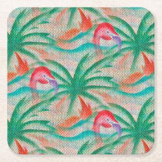 Mirada de la arpillera de la palmera del flamenco posavasos desechable cuadrado