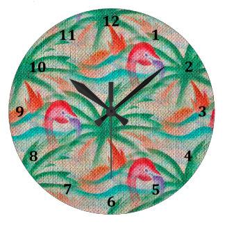 Mirada de la arpillera de la palmera del flamenco reloj redondo grande