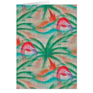 Mirada de la arpillera de la palmera del flamenco tarjeta de felicitación