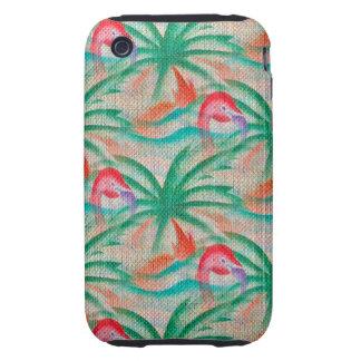 Mirada de la arpillera de la palmera del flamenco tough iPhone 3 funda