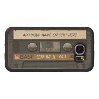 Mirada de la cinta de casete de música del vintage funda de madera para samsung galaxy s6