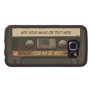 Mirada de la cinta de casete de música del vintage funda de madera para samsung galaxy s6 edge