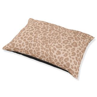 Mirada de la piel del leopardo elegante cama para perro grande