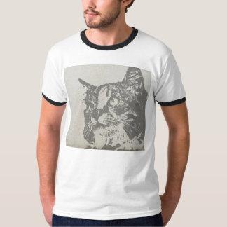 Mirada de la serigrafía del gato, camiseta para playera