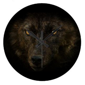 Mirada de las medianoches - fauna negra del animal reloj redondo grande