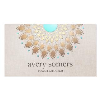 Mirada de lino beige del oro de la mandala tarjetas de visita