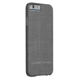 Mirada de lino de hombres con nombre gris funda para iPhone 6 barely there