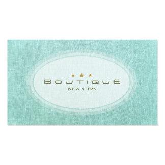 Mirada de lino de las azules turquesas simples ele tarjeta de visita