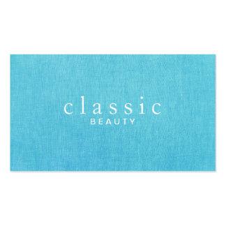 Mirada de lino de las azules turquesas simples y c plantilla de tarjeta de visita